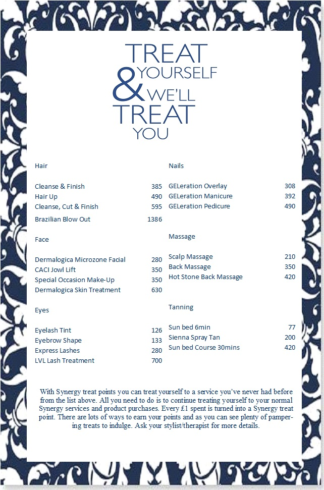 Treat Card Menu